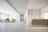 White and wooden office, reception open space
