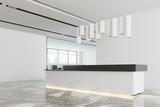 White office interior, white black reception side