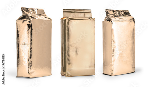 gold package on white - 196786139
