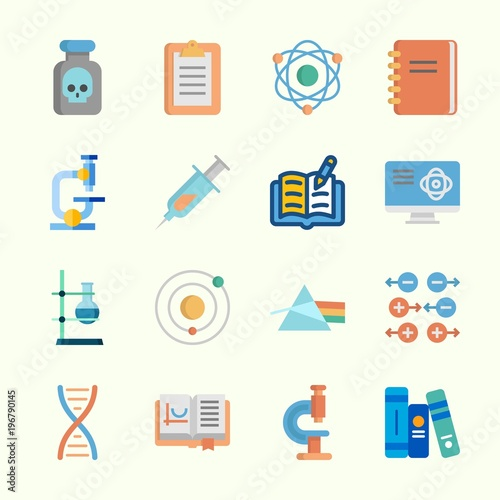 Fototapeta Icons about Science with notebook, books, dna, refraction, poison and gravity