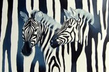 Illustration with zebras on the black and white striped background.