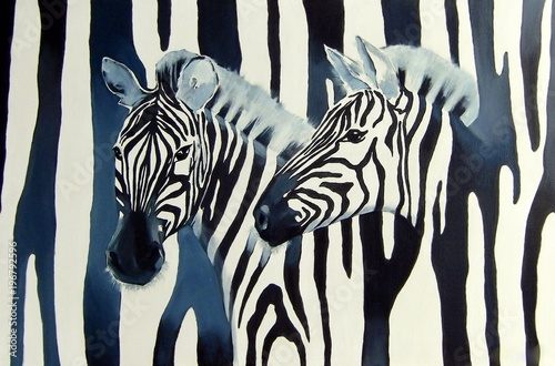 Wall mural Illustration with zebras on the black and white striped background.