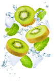 Flying Kiwi with ices and mint leaves isolated