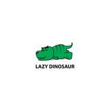 Fototapeta Dinusie - Lazy dinosaur, Funny t-rex sleeping icon, logo design, vector illustration © Totostarkk9456