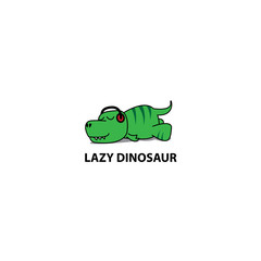 Lazy dinosaur icon, Funny t-rex sleeping with headphones, logo design, vector illustration