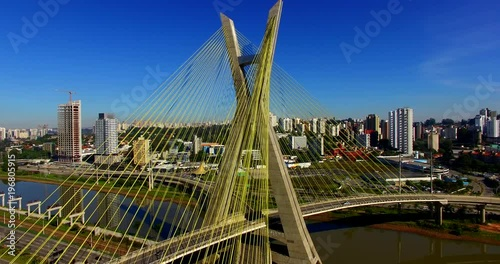 mata magnetyczna Aerial video of Cable-stayed bridge in São Paulo, Brazil