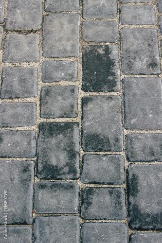 Poster Stenen Background. Gray brick road after rain. Pattern.