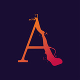 Alphabet letter, stylized colorful liquid ink font. Vector