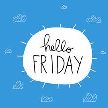 Hello Friday Word And Sun Shape  Illustration  Sticker