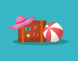 Summer time design with travel suitcase and beach hat over blue background, colorful design vector illustration