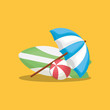 Summer time design with beach parasol and surfboard over yellow background, colorful design vector illustration