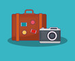 Summer time design with travel suitcase and camera over blue background, colorful design vector illustration