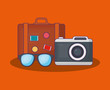 Summer time design with travel suitcase and camera over orange background, colorful design vector illustration