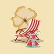 Summer time design with beach chair and cocktails, colorful design vector illustration