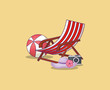 Summer time design with beach chair and camera over yellow background, colorful design vector illustration