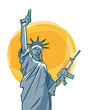 The statue of Liberty with guns in her hands. Vector