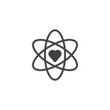 Atom and heart shape vector icon. filled flat sign for mobile concept and web design. Love science, chemistry simple solid icon. Symbol, logo illustration.  - 196825706