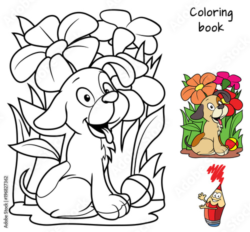 Little dog with a ball among the flowers. Coloring book. Cartoon vector illustration