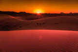 Sunset in the dunes of Erg Chebbi,  Morocco - 196828782