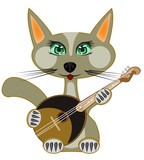 Cat plays on music instrument