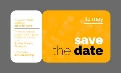 Save the Date wedding celebration invitation card creative template design. Vector wedding party event invitation ticket concept isolated on transparent background