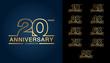 Set of anniversary logotype. Golden anniversary celebration emblem design for booklet, leaflet, magazine, brochure poster, web, invitation or greeting card.