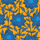 Seamless abstract floral pattern with blue flowers for textile or interior design