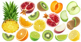 Set of various cut fruits isolated on white background