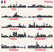 vector city skylines silhouettes of France - 196851794