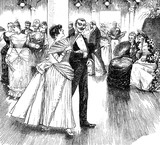 Gentleman flirts with young woman at the ball white two old spinsters look at them with great interest, vintage illustration - 196851909