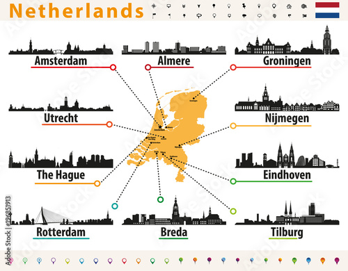 Fotobehang Rotterdam Netherlands map with largest cities skylines silhouettes