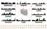vector map of Poland with largest city skylines silhouettes