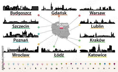 vector map of Poland with largest city skylines silhouettes - 196853377