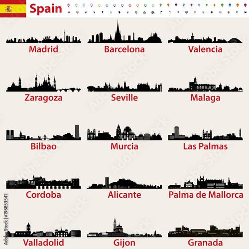 Hiszpania największe miasta sylwetki sylwetki wektor zestaw
