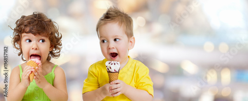 ice cream eating by funny kids