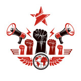 Marketing banner composed with loudspeakers, raised clenched fists and Earth planet, vector illustration. Propaganda as the means of influence on global public opinion. - 196859106