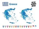 Greece - High Detailed Map With GPS Icon Collection