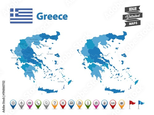 Fototapeta Greece - High Detailed Map With GPS Icon Collection