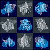 3D engineering vectors, collection of abstract shapes. - 196861900
