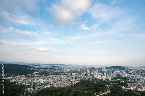 Fotobehang Seoel 인왕산에서 바라본 서울시내