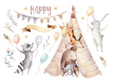 Cute baby giraffe, deer animal nursery mouse and bear, raccoon and bunny isolated illustration for children. Watercolor boho forest cartoon Birthday patry invitation Perfect for nursery posters - 196864315
