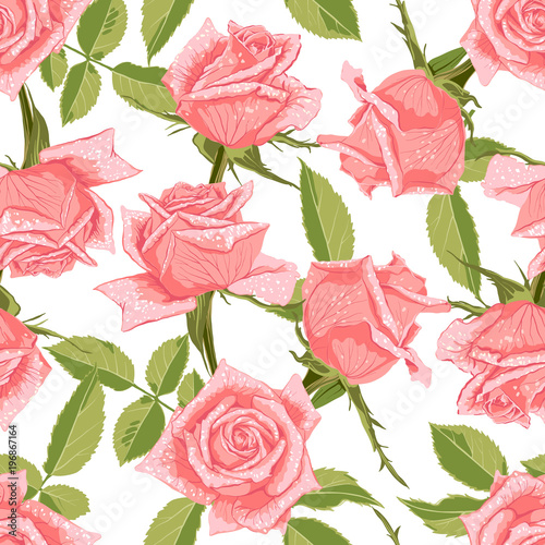 Seamless floral pattern with roses. - 196867164