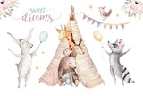 Cute baby giraffe, deer animal nursery mouse and bear, raccoon and bunny isolated illustration for children. Watercolor boho forest cartoon Birthday patry invitation Perfect for nursery posters