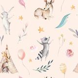 Cute family baby raccon, deer and bunny. animal nursery giraffe, and bear isolated illustration. Watercolor boho raccon drawing nursery seamless pattern. Kids background, nursery print - 196871765