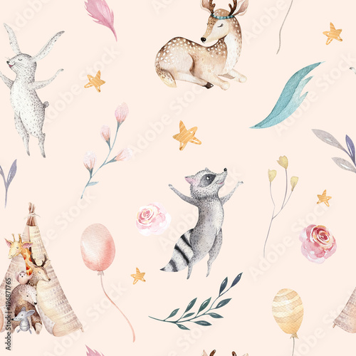 Cute family baby raccon, deer and bunny. animal nursery giraffe, and bear isolated illustration. Watercolor boho raccon drawing nursery seamless pattern. Kids background, nursery print - 196871765