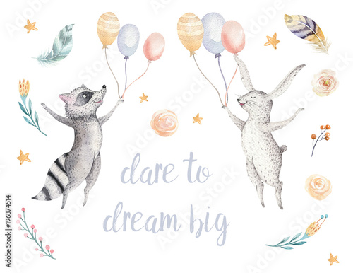 Cute jumping raccoon and bunny animal illustration for kids Watercolor boho forest cartoon Birthday patry rabbit Balloons invitation Perfect for nursery posters, patterns