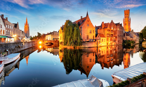 Foto op Canvas Brugge Canal in Bruges and famous Belfry tower on the background at sunset, night, Belgium
