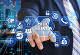 The businessman chooses the Side Hustle  on the virtual screen in the business network connection. - 196883339