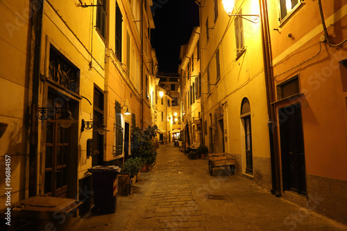 Fotobehang Liguria Italy, colorful Monterosso streets at Cinque Terre at night