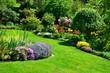 Leinwanddruck Bild - beautiful garden with perfect lawn
